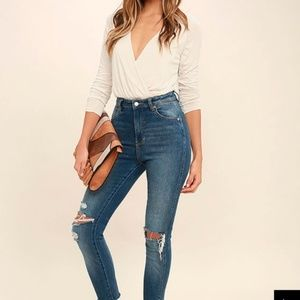 Lulus Womens Size XS Bodysuit White Long Sleeve